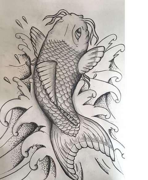 Эскиз татуировки карп
