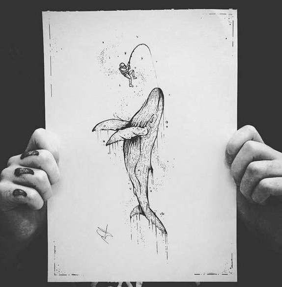 Эскиз татуировки кит на бумаге