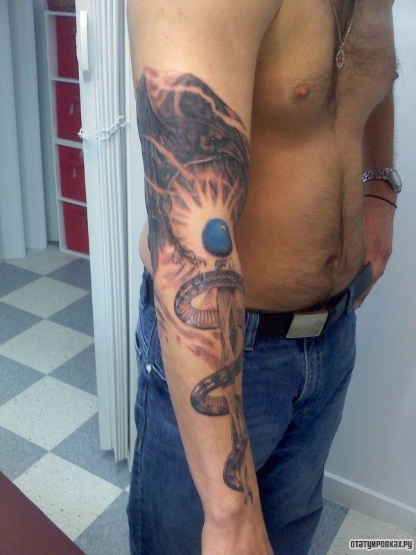Татуировка посох Асклепия