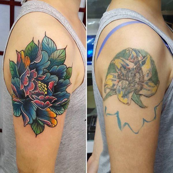 Татуировка перекрытие - японская хризантема
