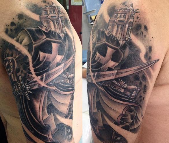 Татуировка богатырь в черно-белом исполнении