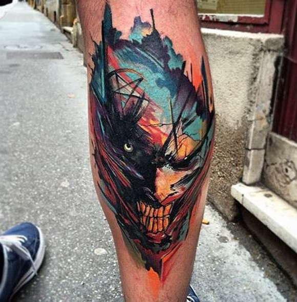 Авторская работа тату-мастера на тему джокер