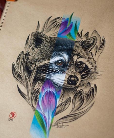 Татуировка енот на бумаге - эскиз