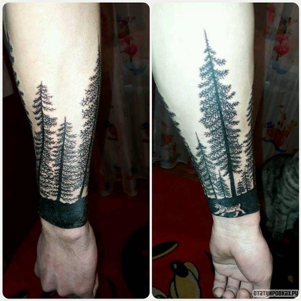 Тату леса как браслета на руке