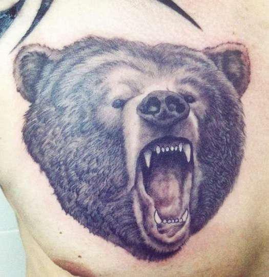 Медведь и его оскал на груди