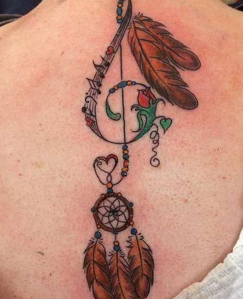 Татуировка скрипичного ключа на лопатке в виде ловушки для снов