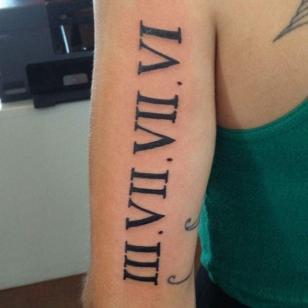 Татуировка в виде римских цифр