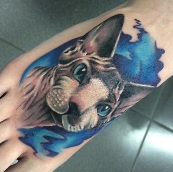 Кот сфинк - реализм в татуировке