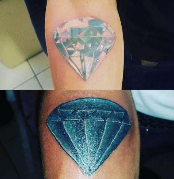 Татуировка бриллиант в двух разных исполнениях