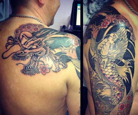 Японский стиль татуировки дракон
