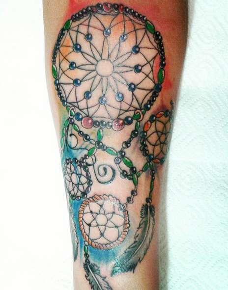Цветная татуировка ловец снов