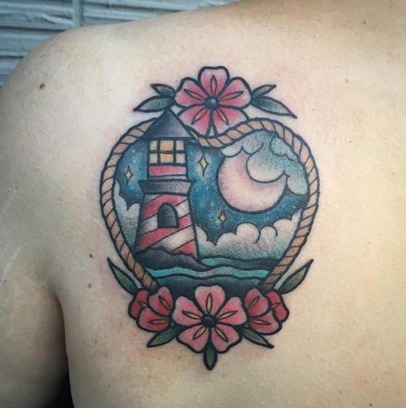 Маяк в сердечке - татуировка олд скул