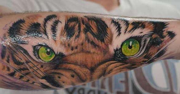 Глаза тигра на руке