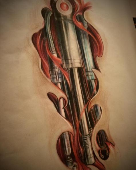 Поршни под кожей, татуировка механика