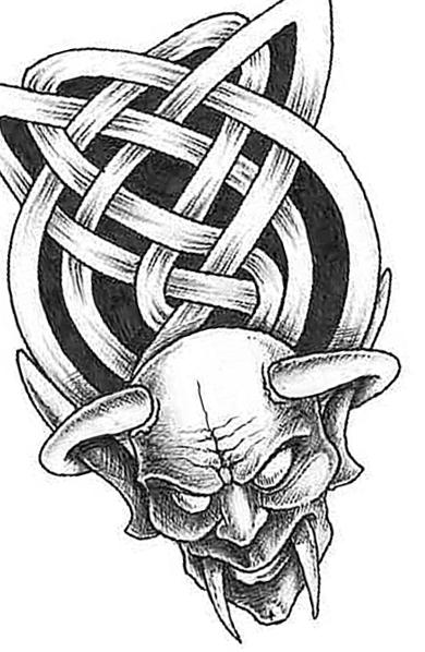 Классический эскиз татуировки демона