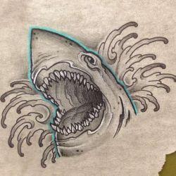 акула фото, эскиз