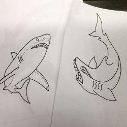 тату акула эскиз