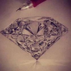 фото, эскиз татуировка алмаз