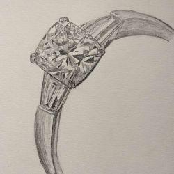 эскиз тату алмаз