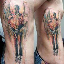 Ангел в стиле татуировки акварели