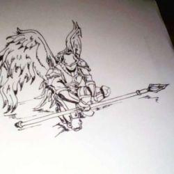 Эскиз ангела с копьем
