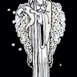 Эскиз ангела на черном фоне