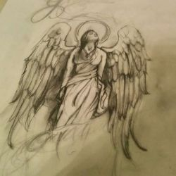 Эскиз ангела, выполненный карандашом