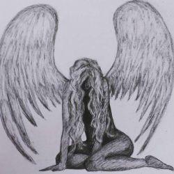 Красивая татуировка ангела-девушки, эскиз