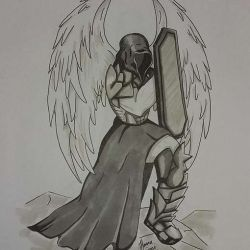 Ангел воин в виде эскиза татуировки