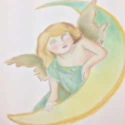 Эскиз, ангел с луной