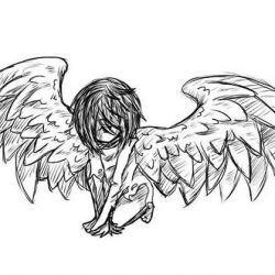 Ангелочек на коленях, эскиз