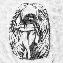 Ангел грустит, эскиз татуировки