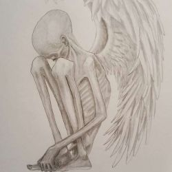 Эскиз: скелет в виде ангела с крыльями