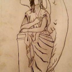 Эскиз ангела с большими крыльями