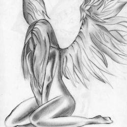 Девушка-ангел с крыльями сидит и грустит, эскиз