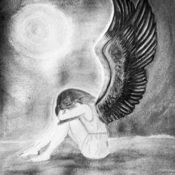 Эскиз ангела-девушки