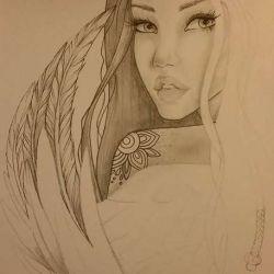Девушка-ангел обернулась назад, эскиз