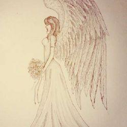 Эскиз ангела с букетом цветов