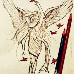 Ангел с птицами, эскиз