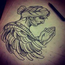 Эскиз тату - ангел молится