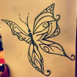 Тату бабочка эскиз
