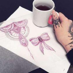 Татуировка бантик фото, эскиз