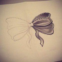 фото, эскиз татуировка бантик