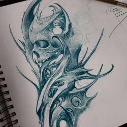 фото, эскиз татуировка биомеханика