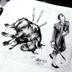 эскиз татуировка бык