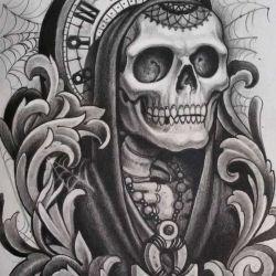 татуировка часы фото, эскиз