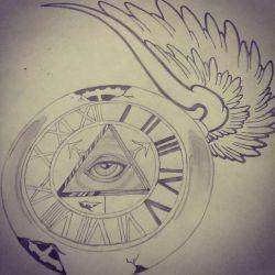 фото, эскиз тату часы