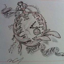 Татуировка часы эскиз