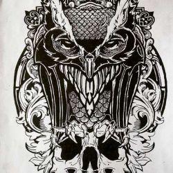 татуировка череп фото, эскиз