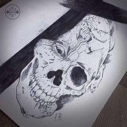 фото, эскиз череп